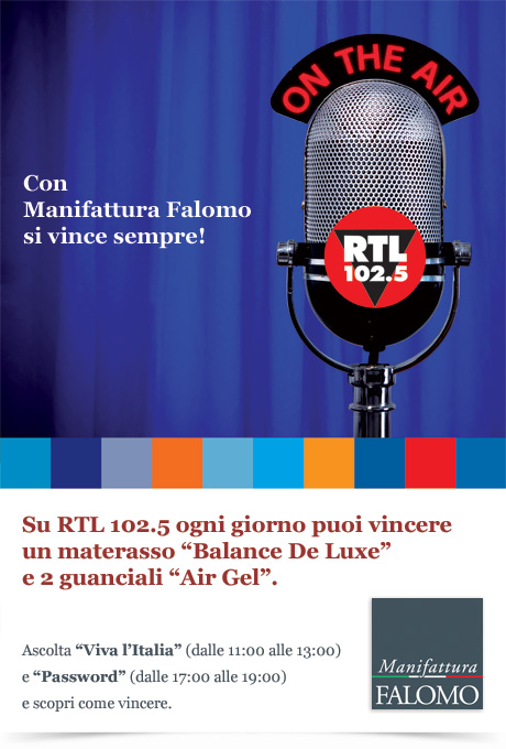 Vinci materassi e guanciali Falomo con il concorso a premi sulla radio nazionale RTL 102.5!