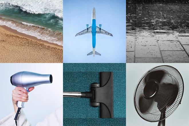 Esempi di rumore bianco: mare, aereo, pioggia, phon, aspirapolvere e ventilatore.